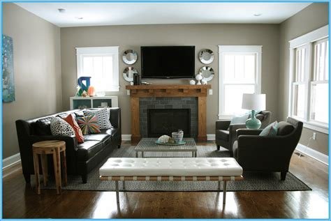 how to decorate a rectangular living room with a fireplace