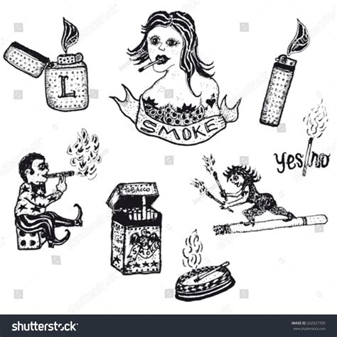 doodle tobacco smoke tobacco drugs and cigarettes set illustration of a