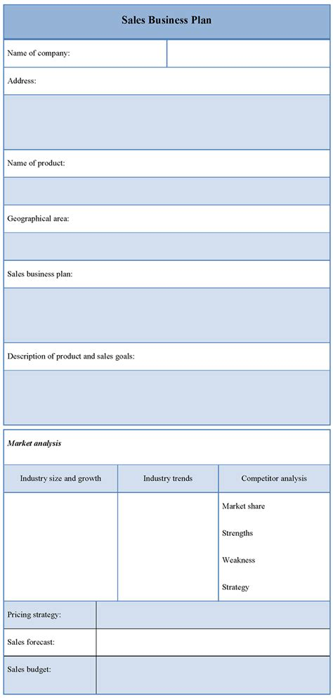 plan template for sales business sle of sales business