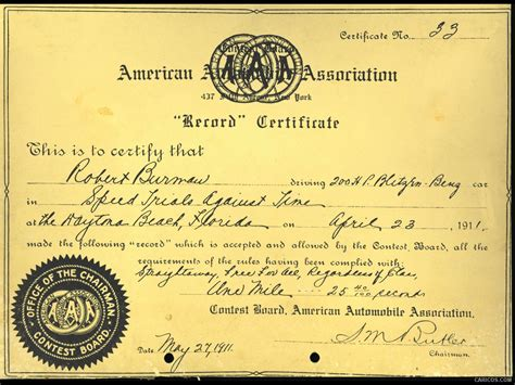 Is A Certificate A Record Blitzen 200 Ps 1909 Speed Record Certificate Of