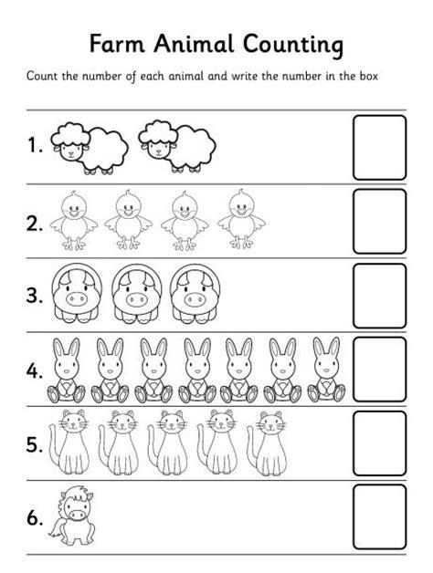 free printable worksheets for kindergarten counting farm animal counting worksheet preschool is cool