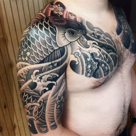 black koi fish half sleeve tattoo coy fish tattoo