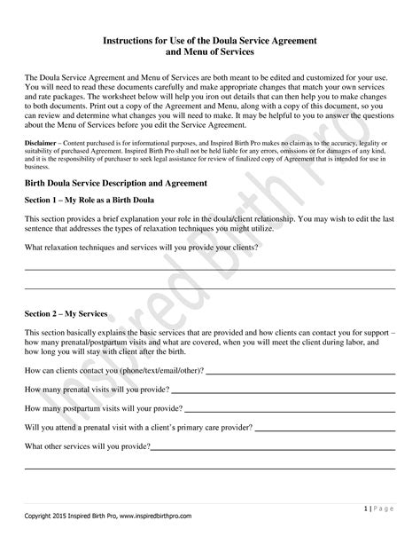 Doula Contract Template Sle Birth Doula Contract Template