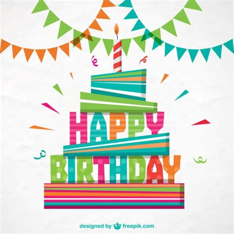 birthday card template design vector free download colorful happy birthday card vector free download