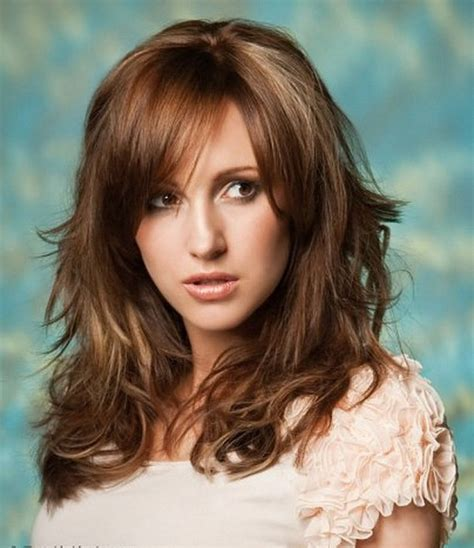 hairstyles with long bangs women over 40 round faces 111 best layered haircuts for all hair types 2018