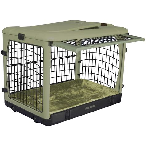 crate puppy at pet gear 174 the other door steel crate with plush pad 176274 kennels beds at