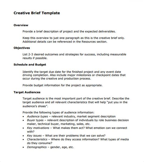 how to write a project brief template sle creative brief 9 free documents in pdf word