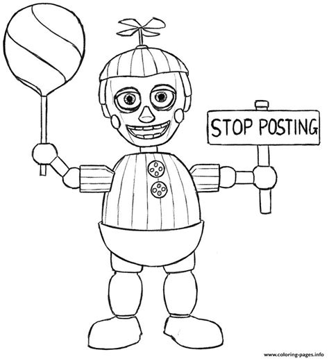 five nights of freddy coloring pages print balloon boy phantom five nights at freddys fnaf