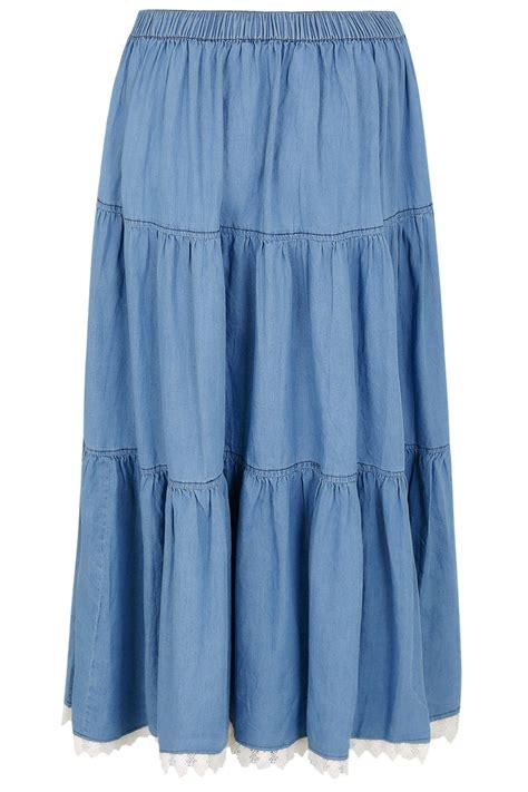 Tas Wanita My Medium I Feel Blue Astronomy Af6333 denim blue tiered maxi skirt with lace trim hem plus size 16 to 36