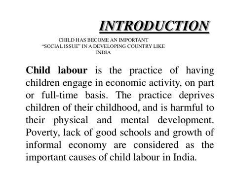 Child Labor Essay Causes And Effects by Child Labour