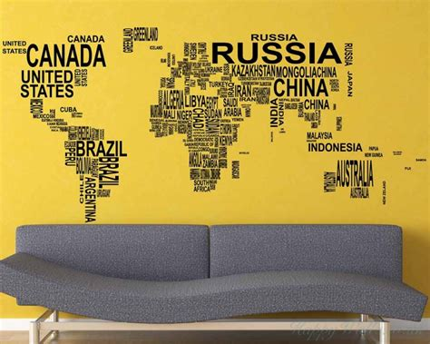 world map with country names decal world map country names wall stickers
