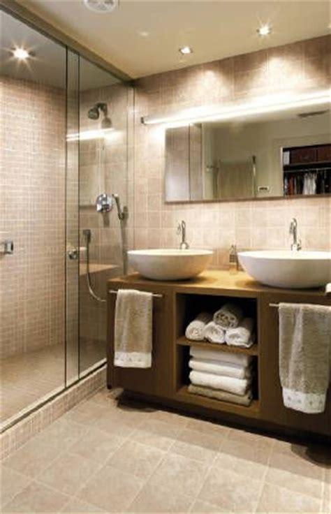 vanity next to glass shower door home interior
