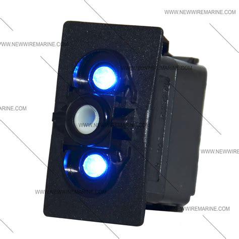on on backlit rocker switch blue led new wire marine