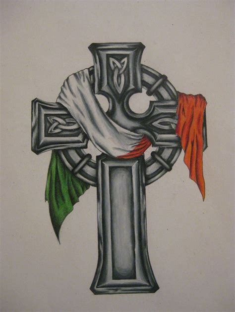 irish cross tattoos celtic cross with the flag the