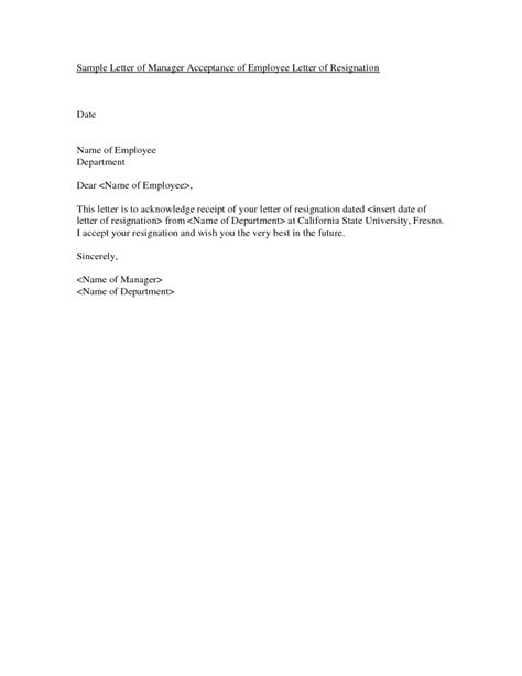 Acceptance Letter Of Resignation By Employer Resignation Letter Format Receipt Dated Letters Of Resignation Exles Departments Names Best
