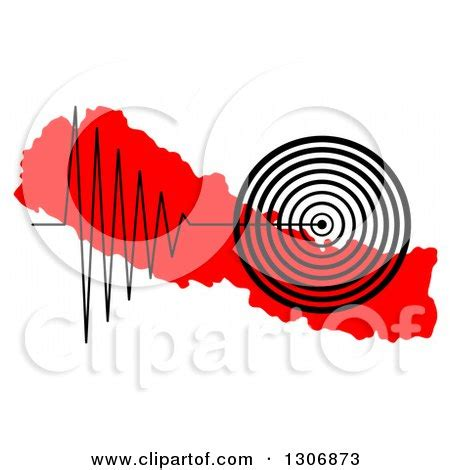 Home Decor Nepal by Black Earthquake Tremor Graph Over A Red Map Of Nepal