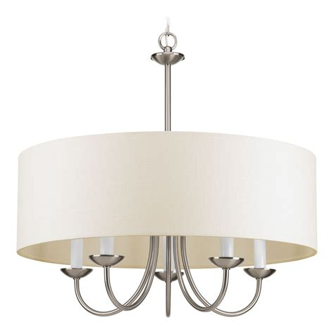 Drum Shade Chandelier Drum Pendant Light With Beige Shades In Brushed Nickel Finish P4217 09 Destination