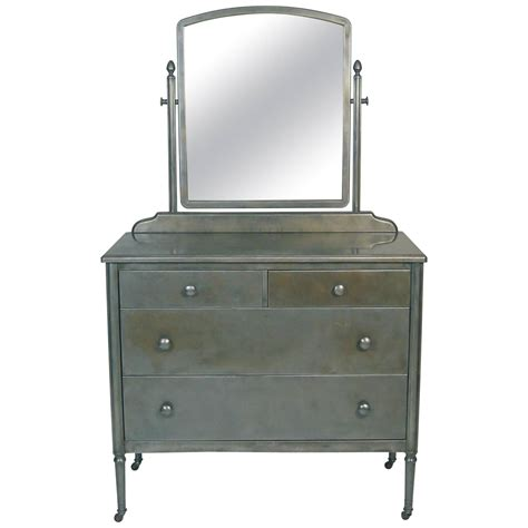 Dresser With Mirror by Vintage Steel Dresser With Mirror At 1stdibs