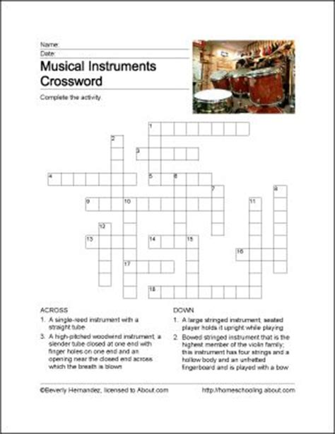 musical instruments crossword puzzle worksheet answers crossword puzzles crossword and musical instruments on