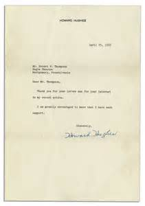 lot detail howard hughes typed letter signed after