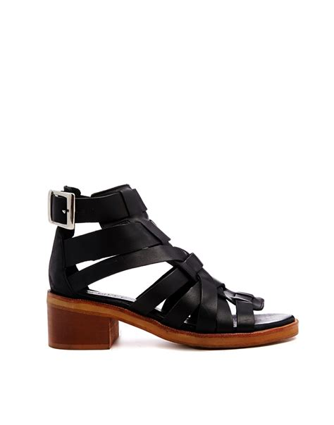black sandals lyst asos white windmill leather gladiator sandals in black
