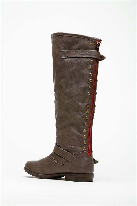 bamboo knee high rider taupe boots cicihot boots catalog