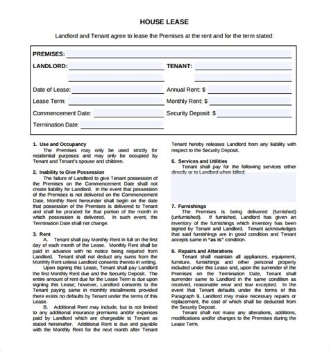 9 House Lease Agreement Templates Sle Templates House Lease Contract Template