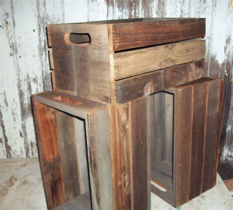 antique primitive reclaimed wood barnwood crates shelf