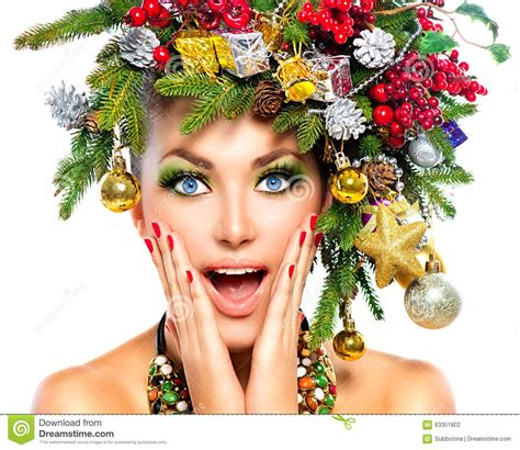 surprised model with christmas makeup stock photo image