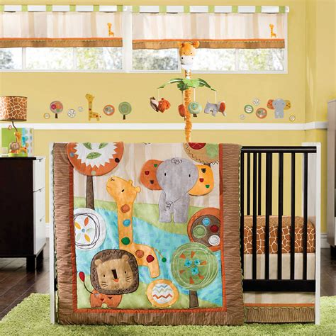 Gorgeous Safari Crib Bedding With Green Fur Rug Jungle Themed Nursery Bedding Sets
