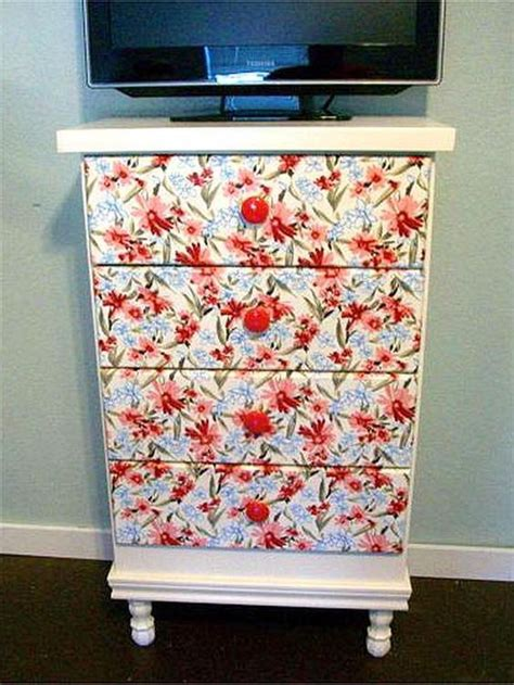 Wrapping Paper Decoupage Furniture - decoupage ideas for furniture paper drawers and furniture
