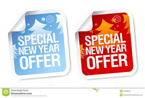 special new year offer stickers stock vector image