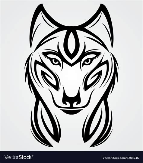 wolf tribal tattoo design royalty free vector image
