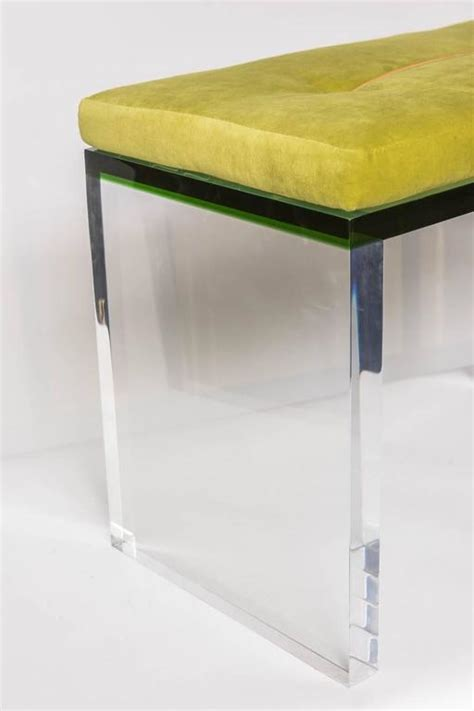 bench clear modern green and clear lucite bench at 1stdibs