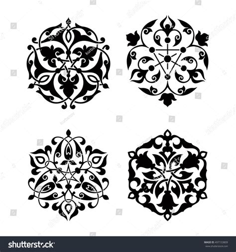 islamic ornamentation pattern set arabic oriental ornament floral pattern stock vector