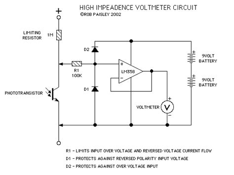 resistor meter circuit high impedance voltmeter circuit