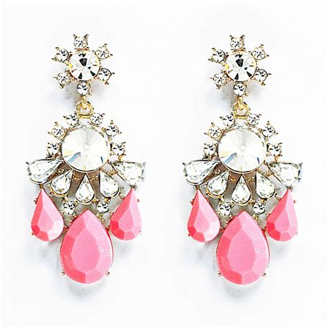 Pink Earring twinkle statement earrings coral pink chandelier