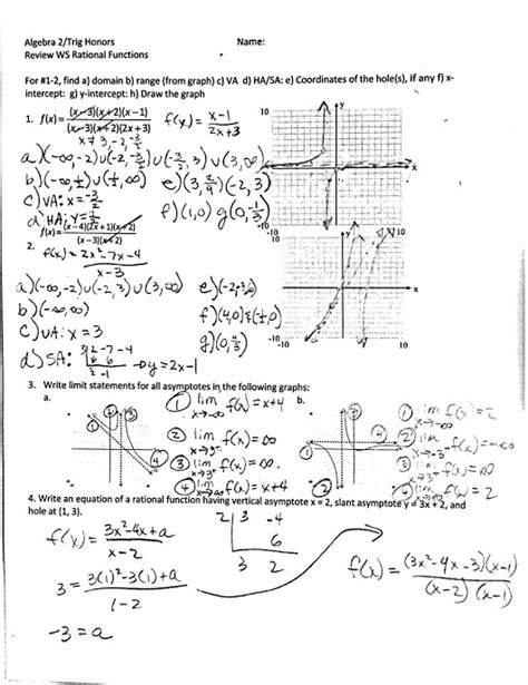 graphing rational functions worksheet homeschooldressage