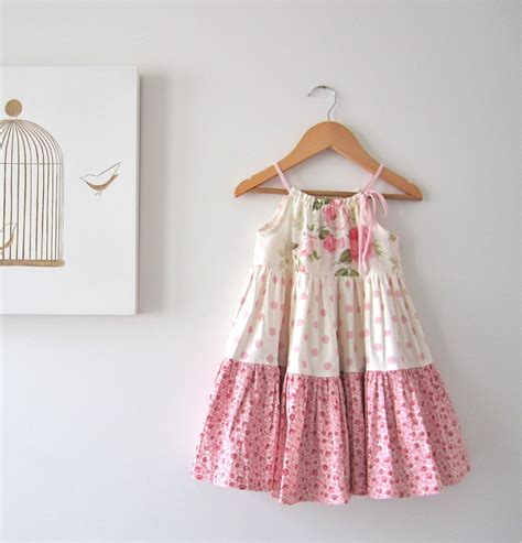 Handmade Garments - baby easter dress pink cotton shabby roses cottage