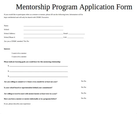 11 Mentor Application Form Templates Free Word Pdf Format Download Free Premium Templates Mentorship Program Template