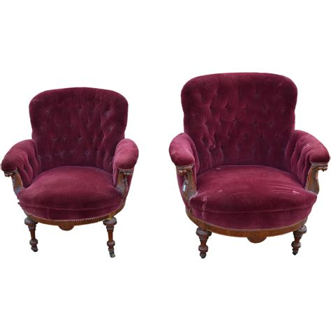 Overstuffed Chairs Pair Of Barrel Front Upholstered Overstuffed Chairs