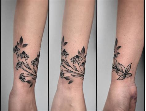wrap around arm tattoo wrist black eyed susan flower wrap