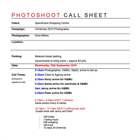 Call Sheet Template by 8 Sle Call Sheet Templates Free Sle Exle Format