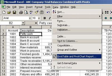 Pivot Table Wizard by Excel Pivot Table To Compare Trial Balances Function And