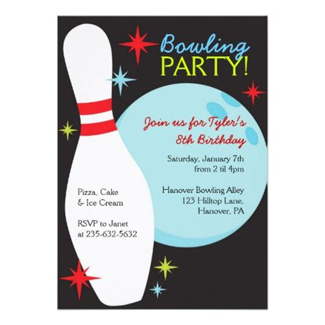 bowling birthday party invitations 5 quot x 7 quot invitation card