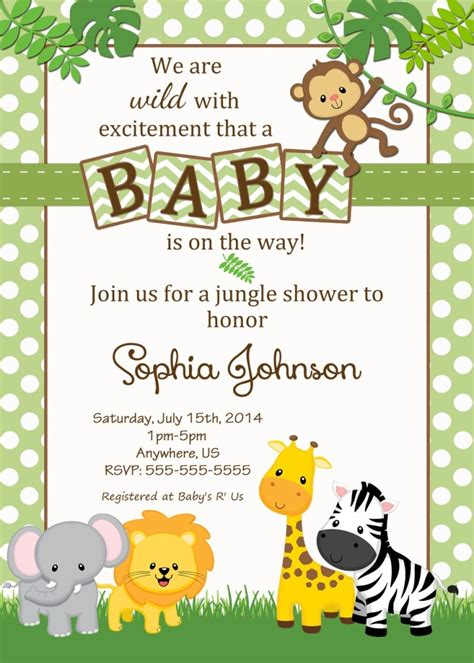 Jungle Themed Baby Shower Invitations baby shower jungle theme invitations
