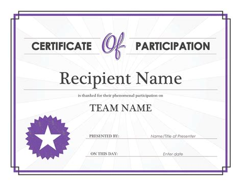 printable participation templates certificate templates