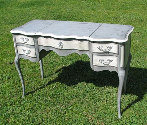 Shabby Chic Painted Furniture Desk Vanity Gray And White White Provincial Desk