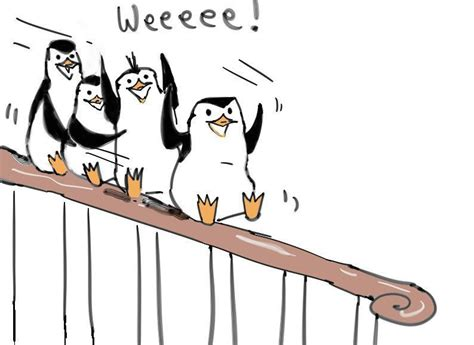 sliding down the banister penguins of madagascar fan art