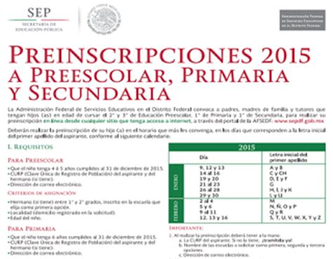 Preinscripciones Preescolar 2015 En Distrito Federal | inscripciones primaria secundaria preescolar sep df